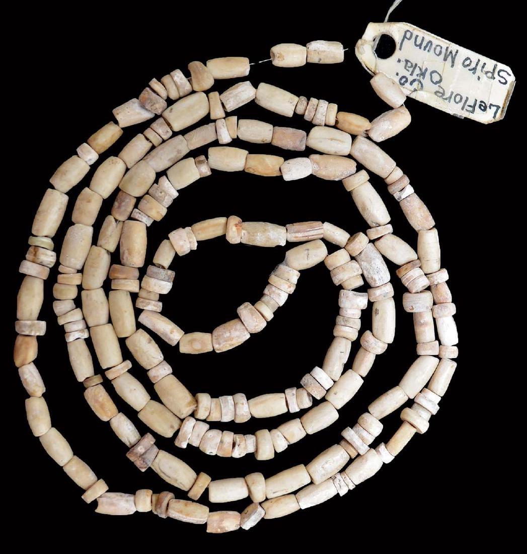 "41"" Polished Shell Bead Necklace.  Spiro Mound."