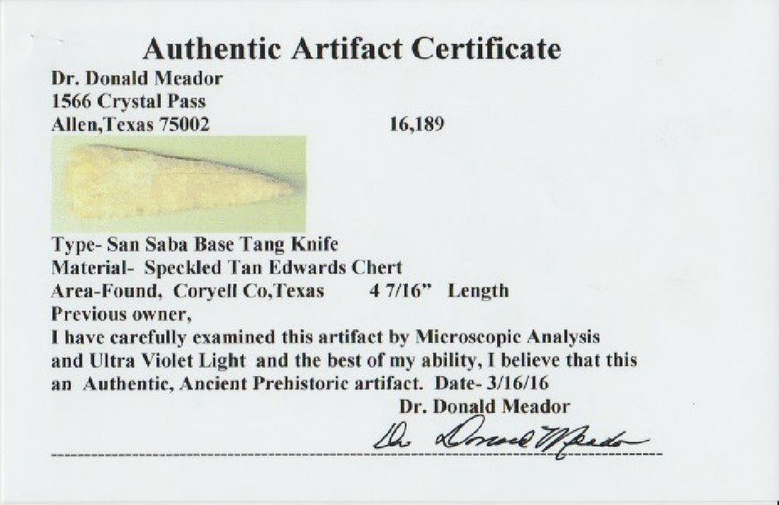 """4 7/16"""" San Saba Knife.  Coryell Co, TX.  Rogers COA - 4"""