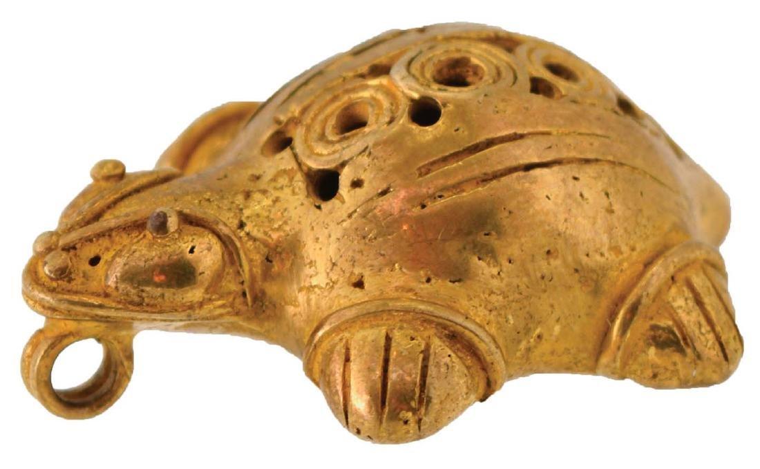 "1 1/2"" Tairona Turtle Effigy Pendant.  Columbian."