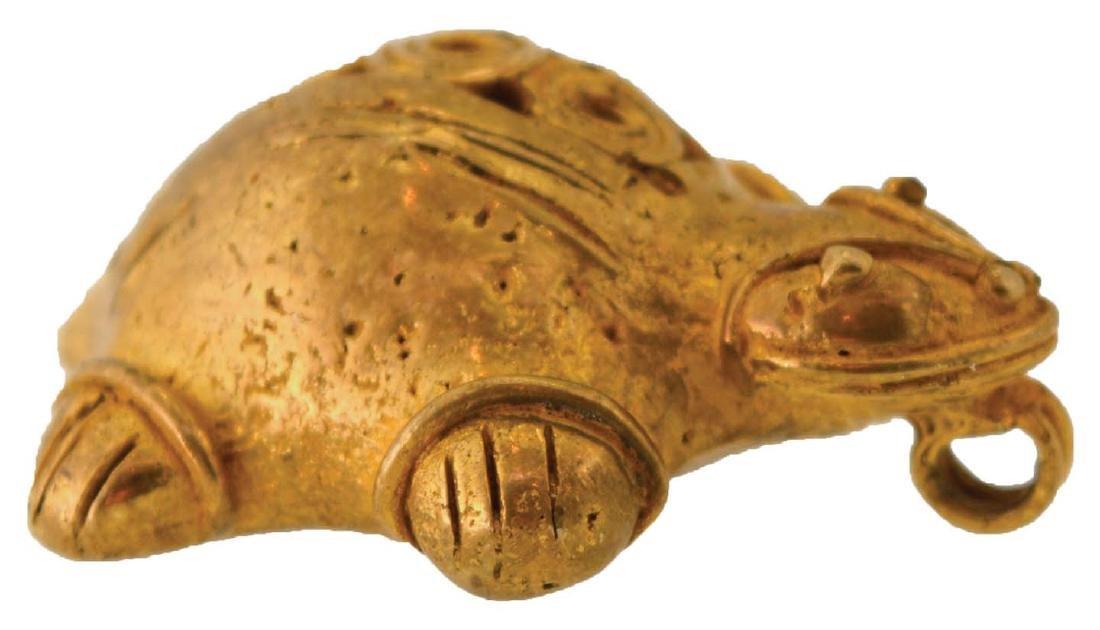 "1 1/2"" Tairona Turtle Effigy Pendant.  Columbian. - 4"
