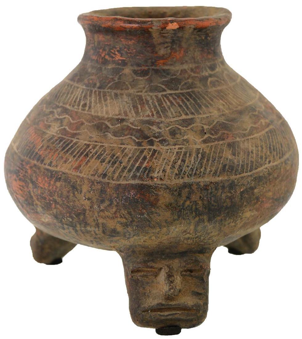 """6"""" D. Engraved Tripod Bottle.  Peru.  Davis COA"""