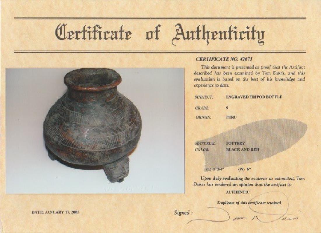 """6"""" D. Engraved Tripod Bottle.  Peru.  Davis COA - 4"""