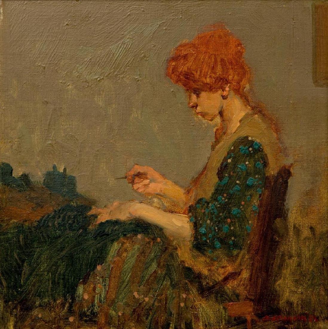MILT KOBAYASHI (b. 1950) OIL ON CANVAS 'WOMAN SEWING'