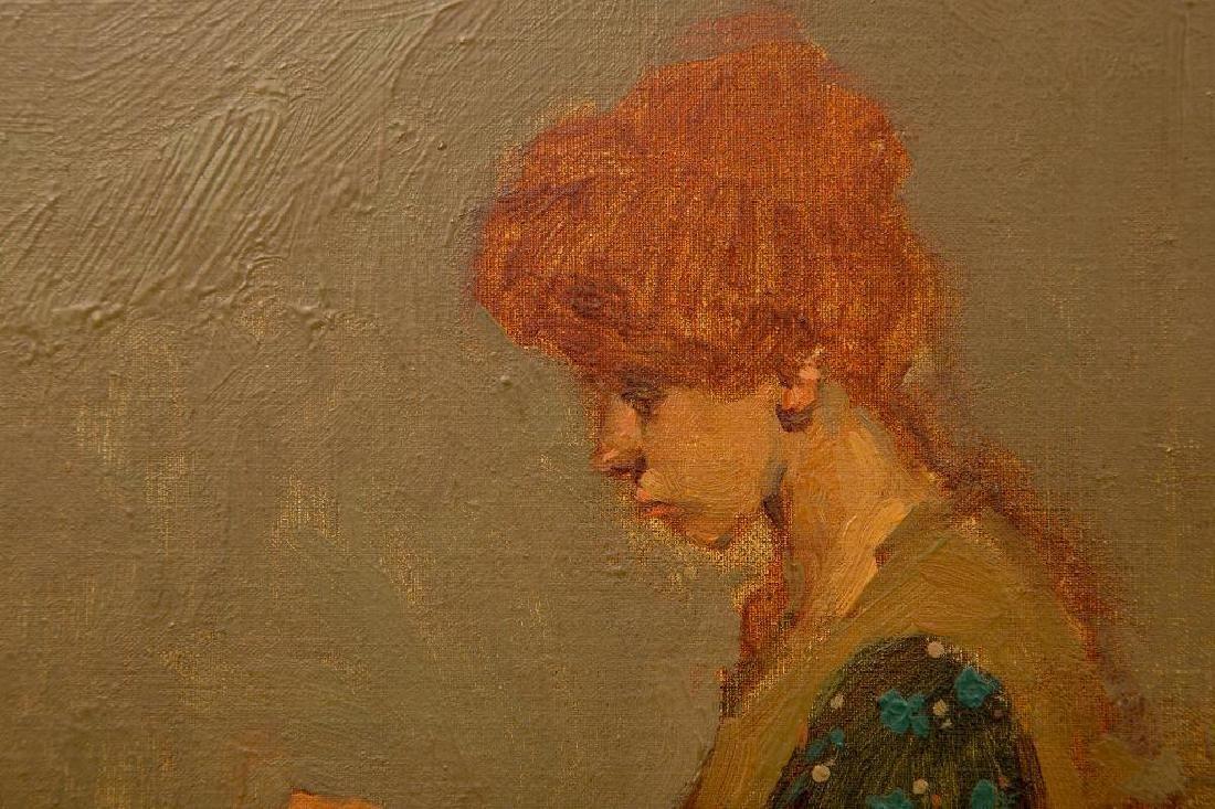 MILT KOBAYASHI (b. 1950) OIL ON CANVAS 'WOMAN SEWING' - 3
