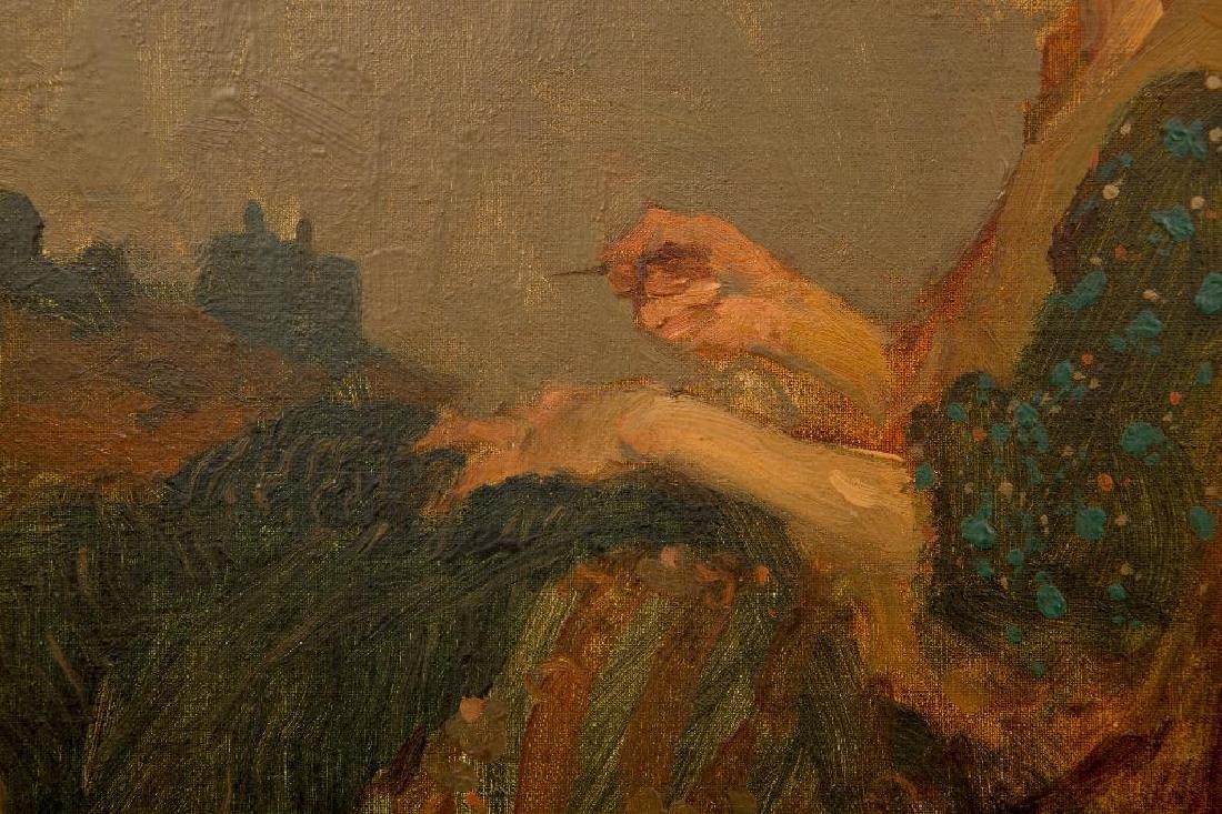 MILT KOBAYASHI (b. 1950) OIL ON CANVAS 'WOMAN SEWING' - 4