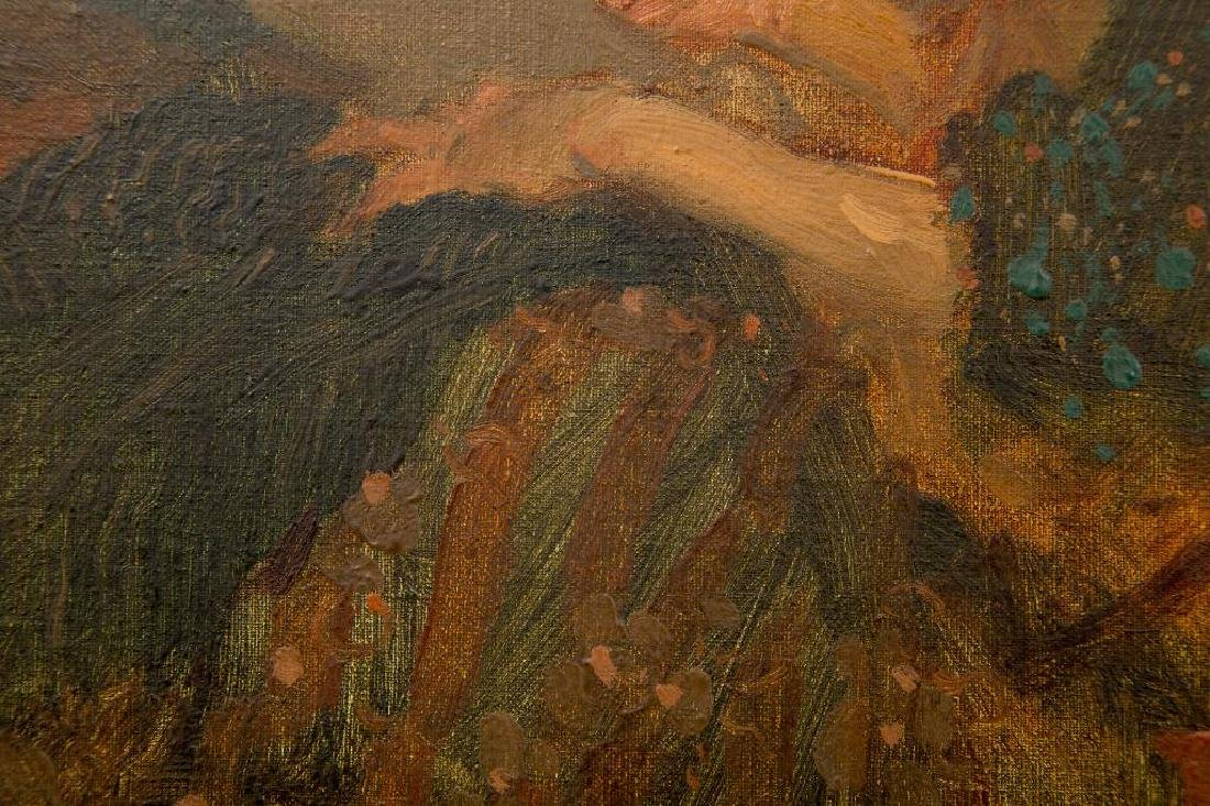 MILT KOBAYASHI (b. 1950) OIL ON CANVAS 'WOMAN SEWING' - 5