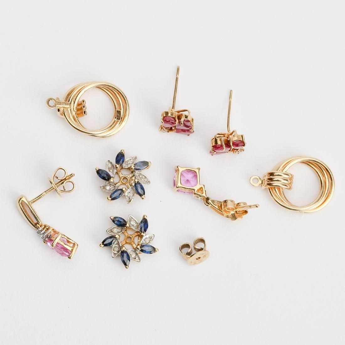 LOT GOLD EARRINGS & JACKETS DIAMOND / GEMSTONES