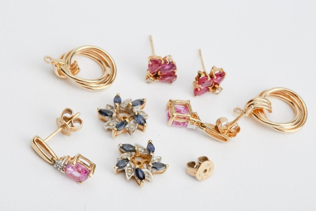 LOT GOLD EARRINGS & JACKETS DIAMOND / GEMSTONES - 2