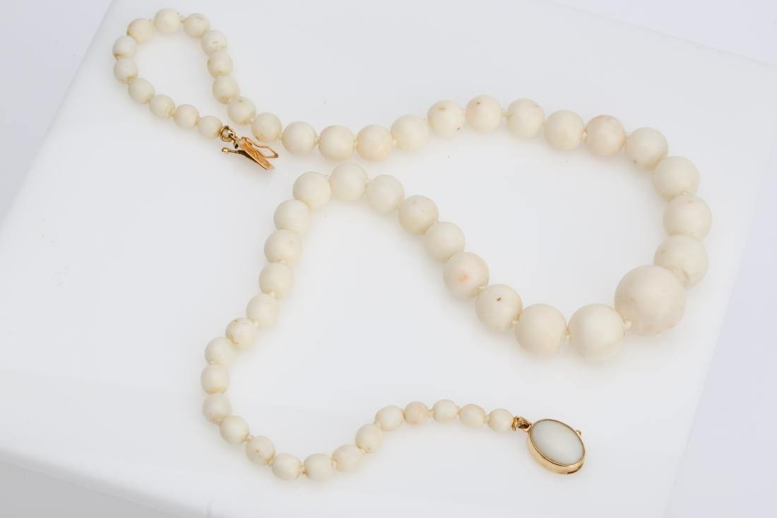 WHITE CORAL BEAD NECKLACE WITH 18K CLASP - 2
