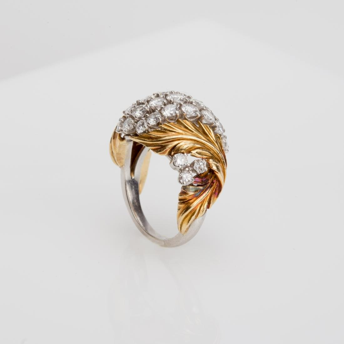 PLATINUM & 18K YELLOW GOLD DIAMOND COCKTAIL RING