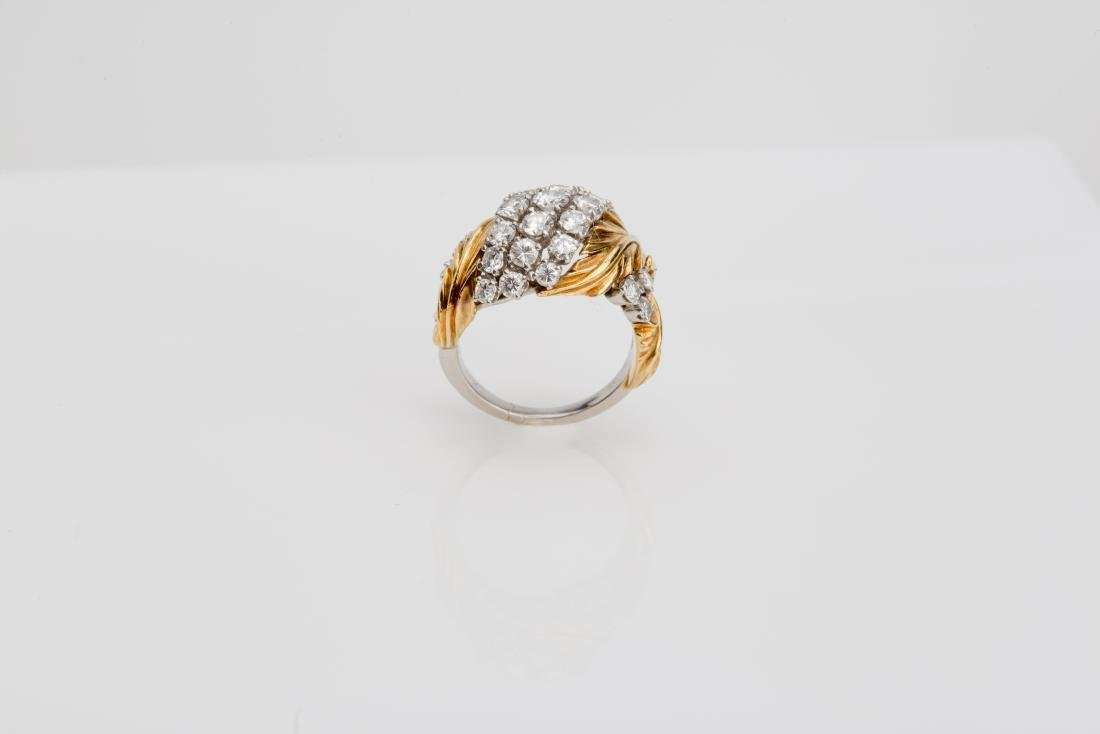 PLATINUM & 18K YELLOW GOLD DIAMOND COCKTAIL RING - 2