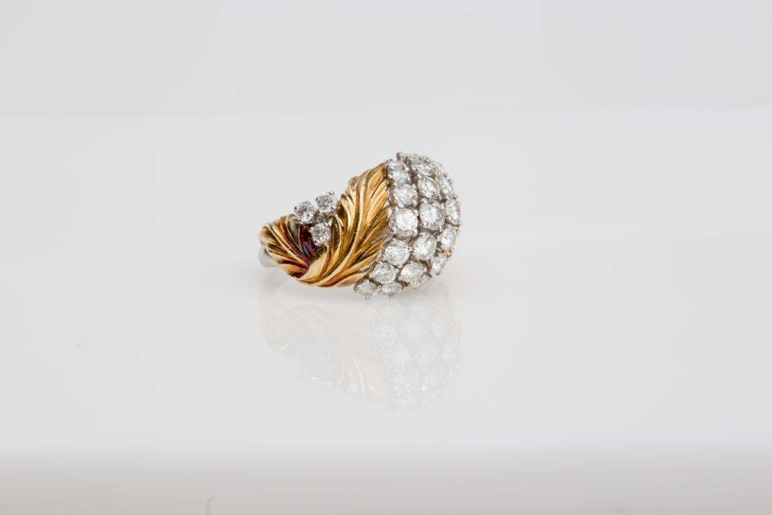 PLATINUM & 18K YELLOW GOLD DIAMOND COCKTAIL RING - 3