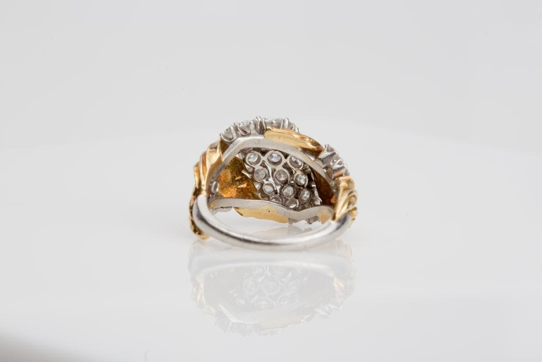 PLATINUM & 18K YELLOW GOLD DIAMOND COCKTAIL RING - 5
