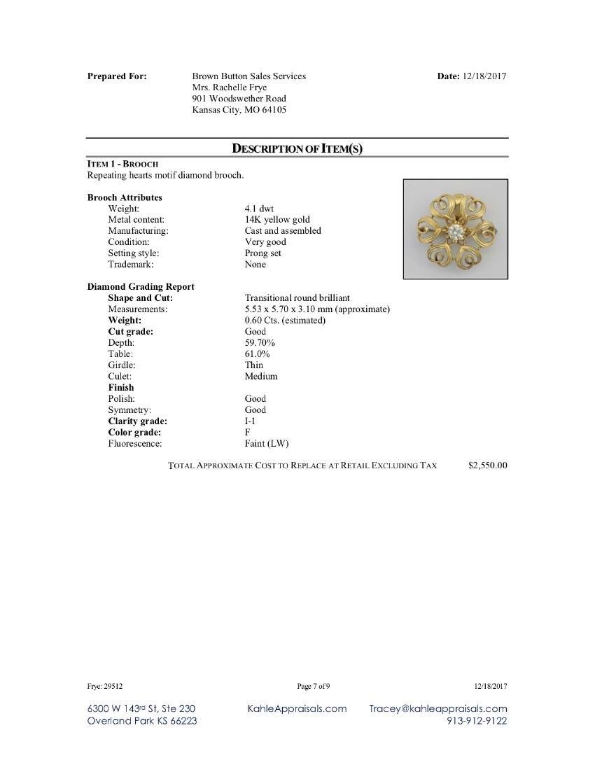 14K YELLOW GOLD PENDANT WITH .60CT DIAMOND - 7