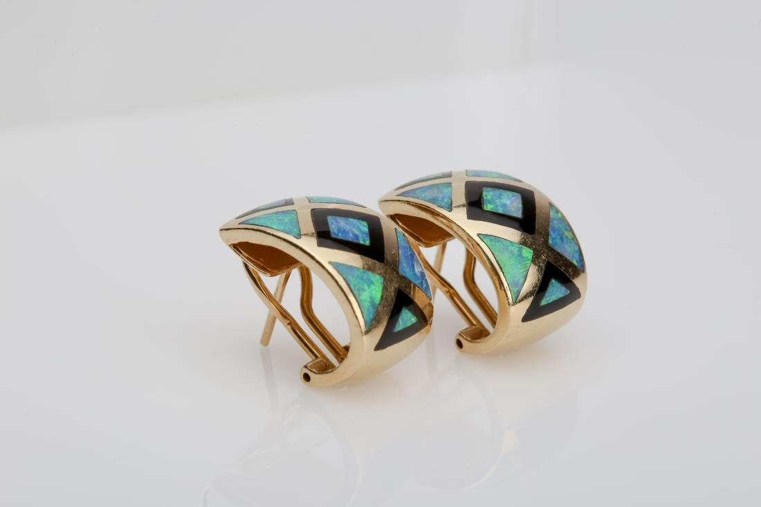 14K OPAL & ONYX INLAY MATCHING RING AND EARRINGS - 2