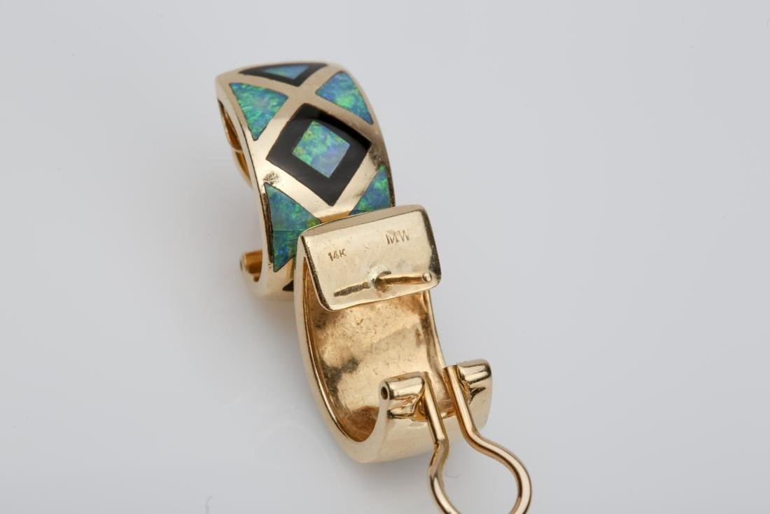 14K OPAL & ONYX INLAY MATCHING RING AND EARRINGS - 3