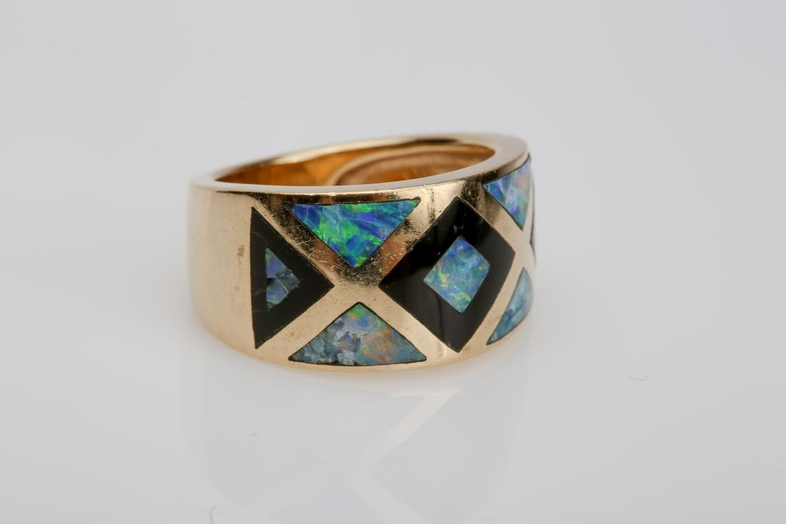 14K OPAL & ONYX INLAY MATCHING RING AND EARRINGS - 4