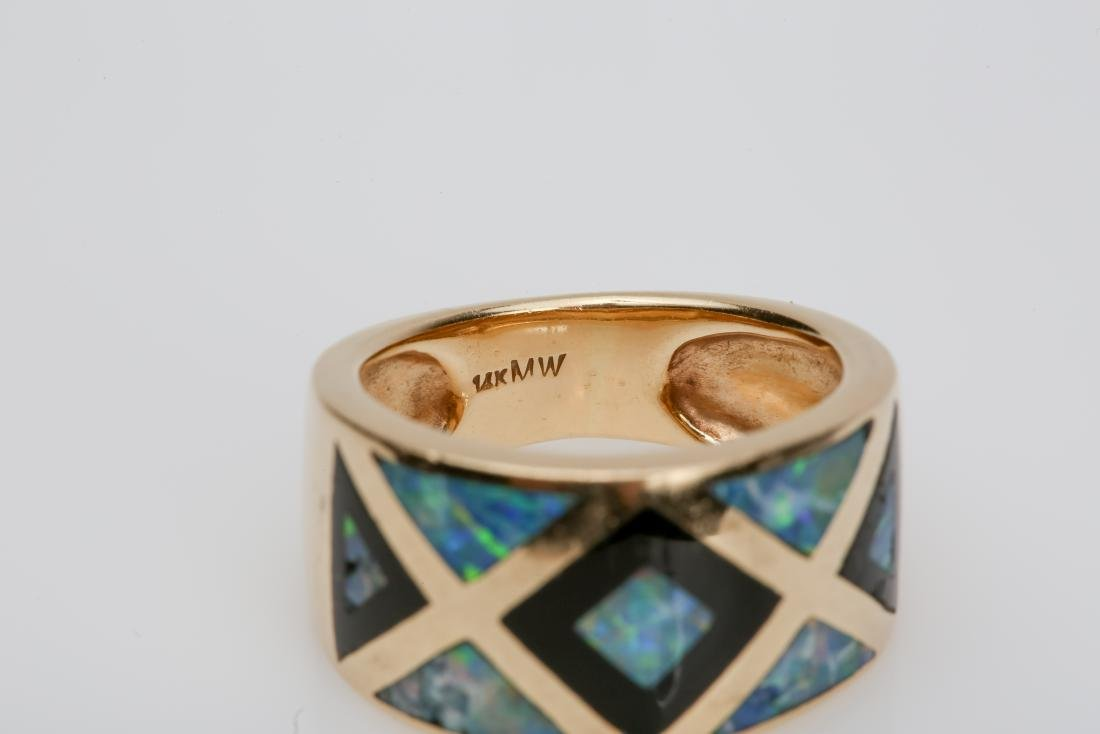 14K OPAL & ONYX INLAY MATCHING RING AND EARRINGS - 5