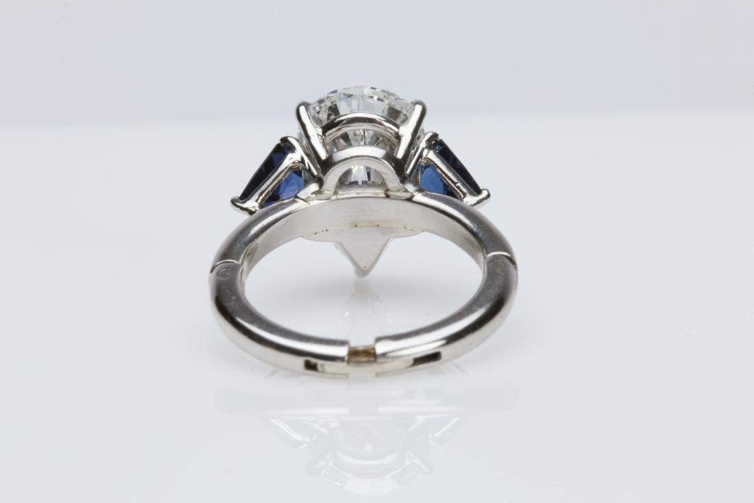 4.1CT PEAR DIAMOND VS2/G SAPPHIRE PLATINUM RING - 10