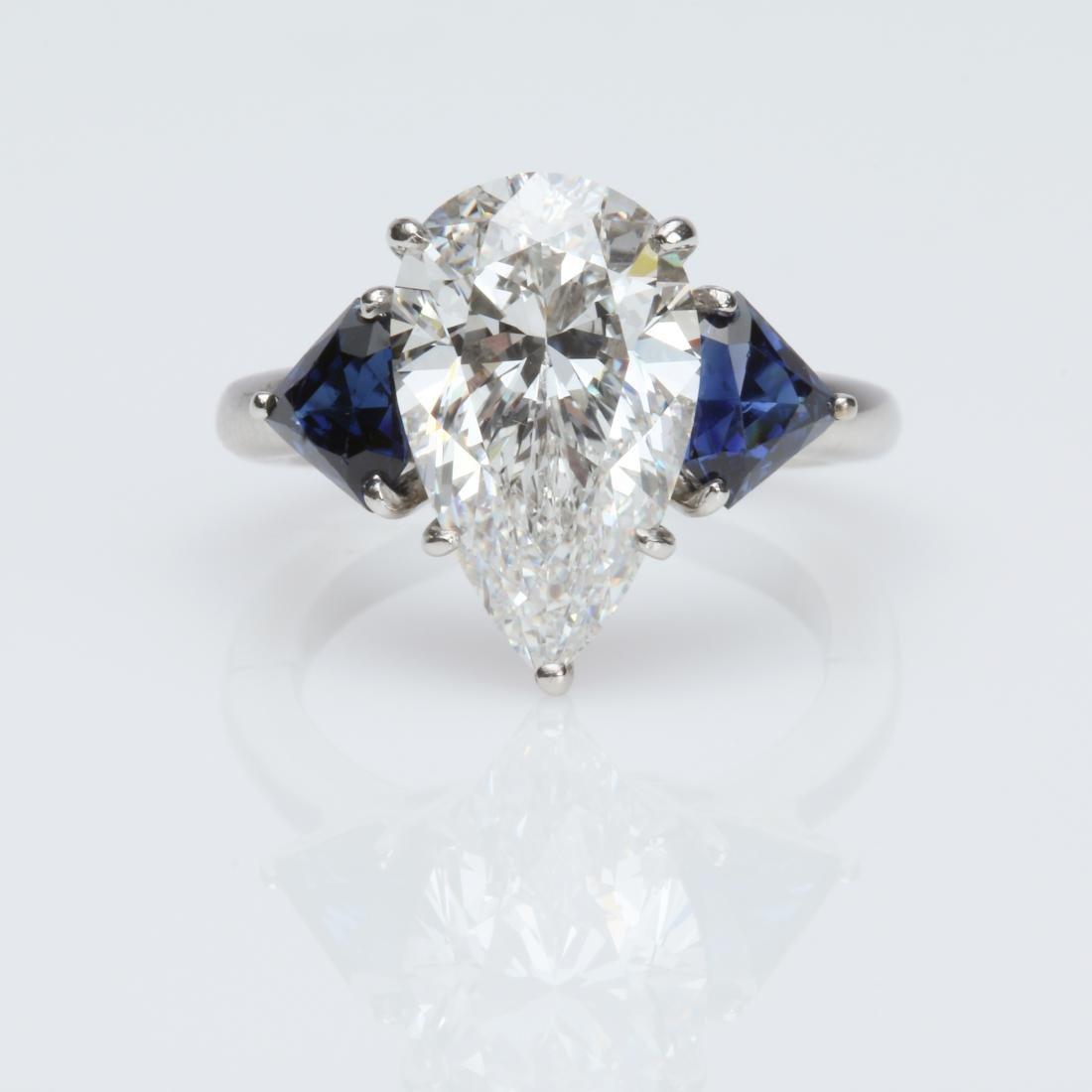 4.1CT PEAR DIAMOND VS2/G SAPPHIRE PLATINUM RING