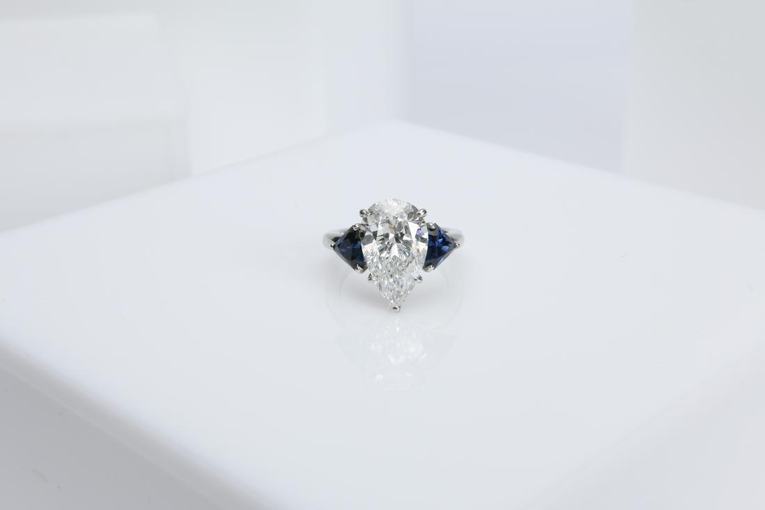 4.1CT PEAR DIAMOND VS2/G SAPPHIRE PLATINUM RING - 2