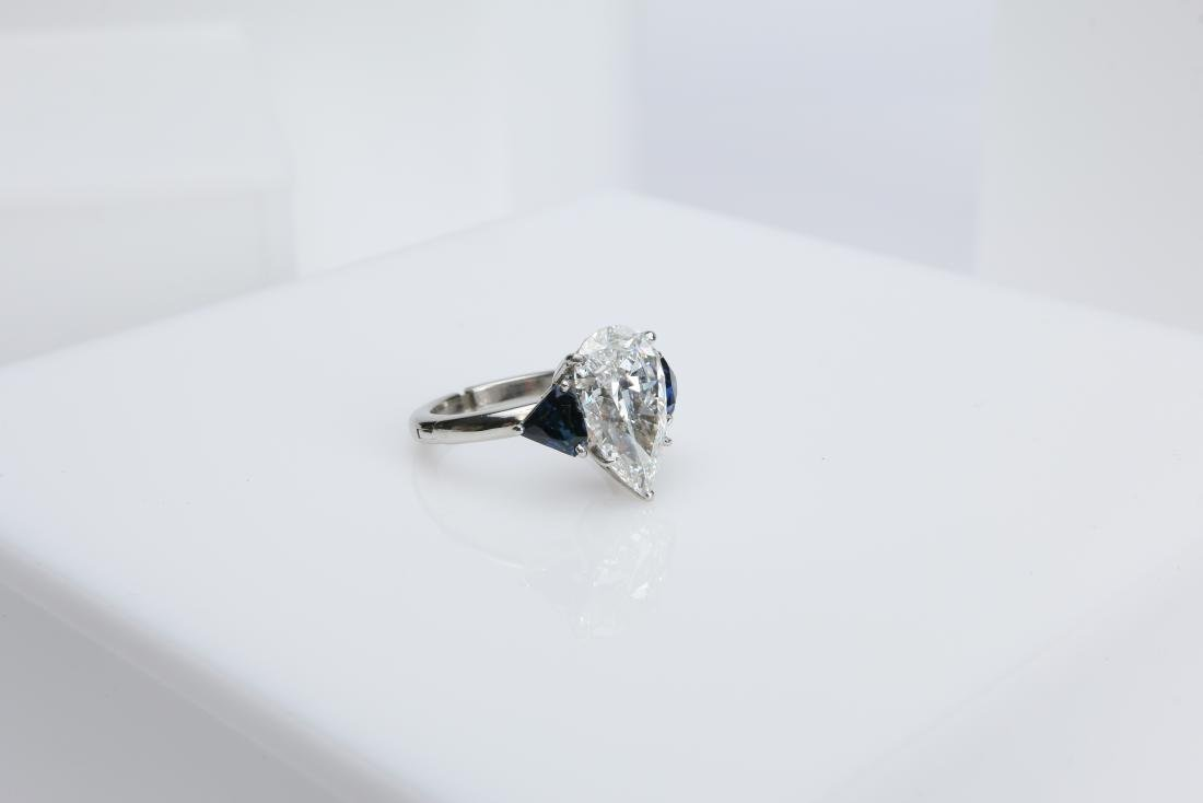 4.1CT PEAR DIAMOND VS2/G SAPPHIRE PLATINUM RING - 3