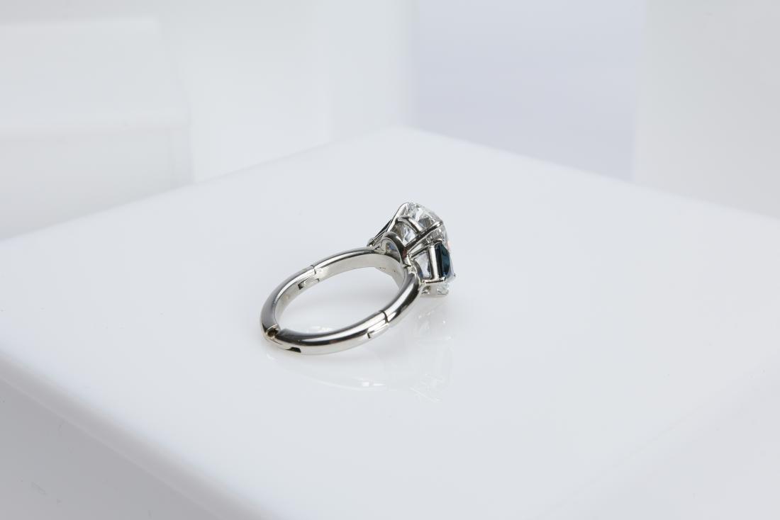 4.1CT PEAR DIAMOND VS2/G SAPPHIRE PLATINUM RING - 4