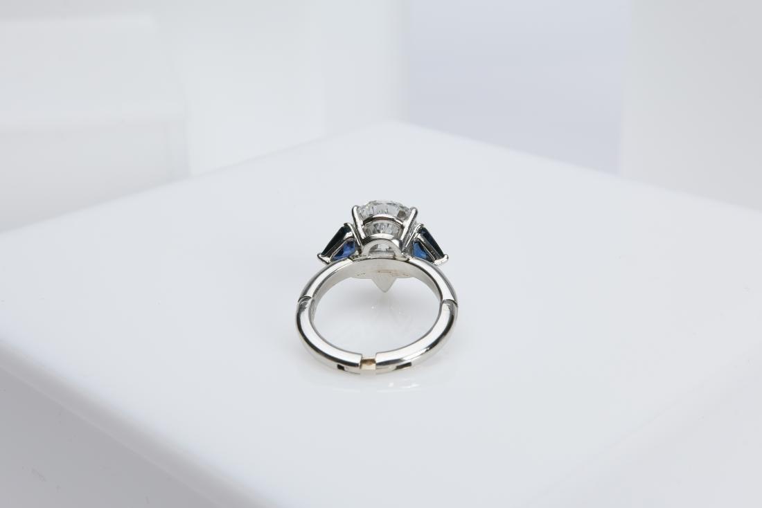 4.1CT PEAR DIAMOND VS2/G SAPPHIRE PLATINUM RING - 5
