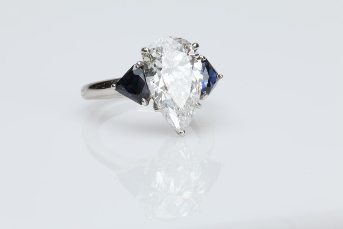 4.1CT PEAR DIAMOND VS2/G SAPPHIRE PLATINUM RING - 6