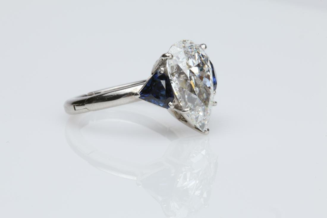 4.1CT PEAR DIAMOND VS2/G SAPPHIRE PLATINUM RING - 7
