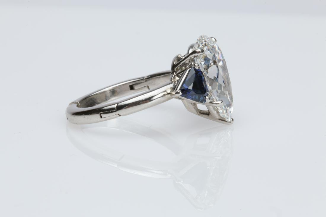 4.1CT PEAR DIAMOND VS2/G SAPPHIRE PLATINUM RING - 8