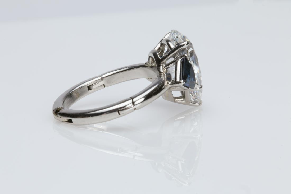4.1CT PEAR DIAMOND VS2/G SAPPHIRE PLATINUM RING - 9