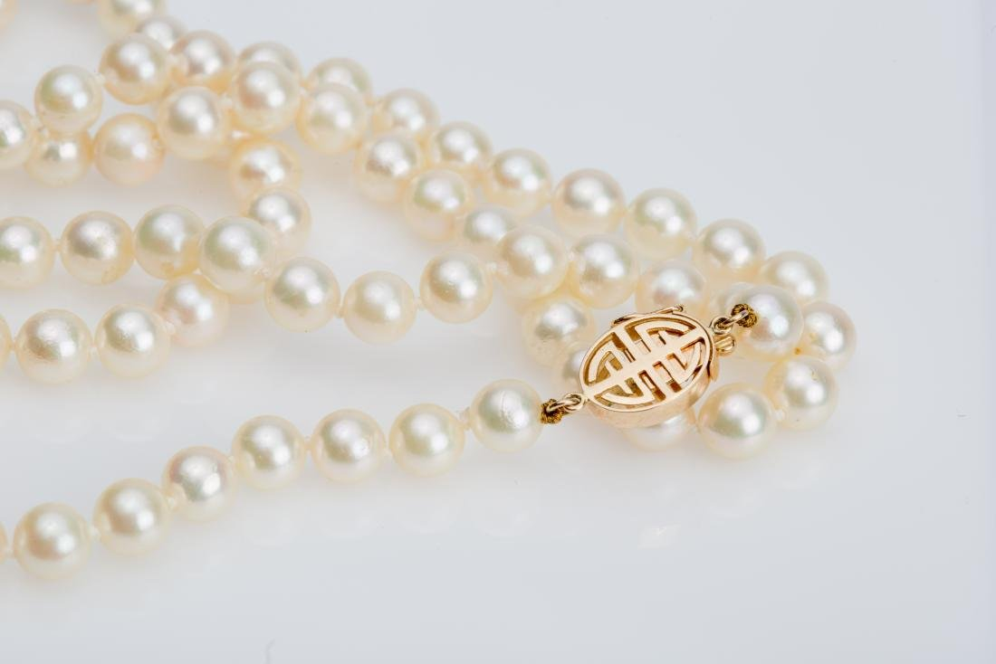 """28"""" AKOYA PEARL NECKLACE 6.5-7MM WITH 14K CLASP - 2"""