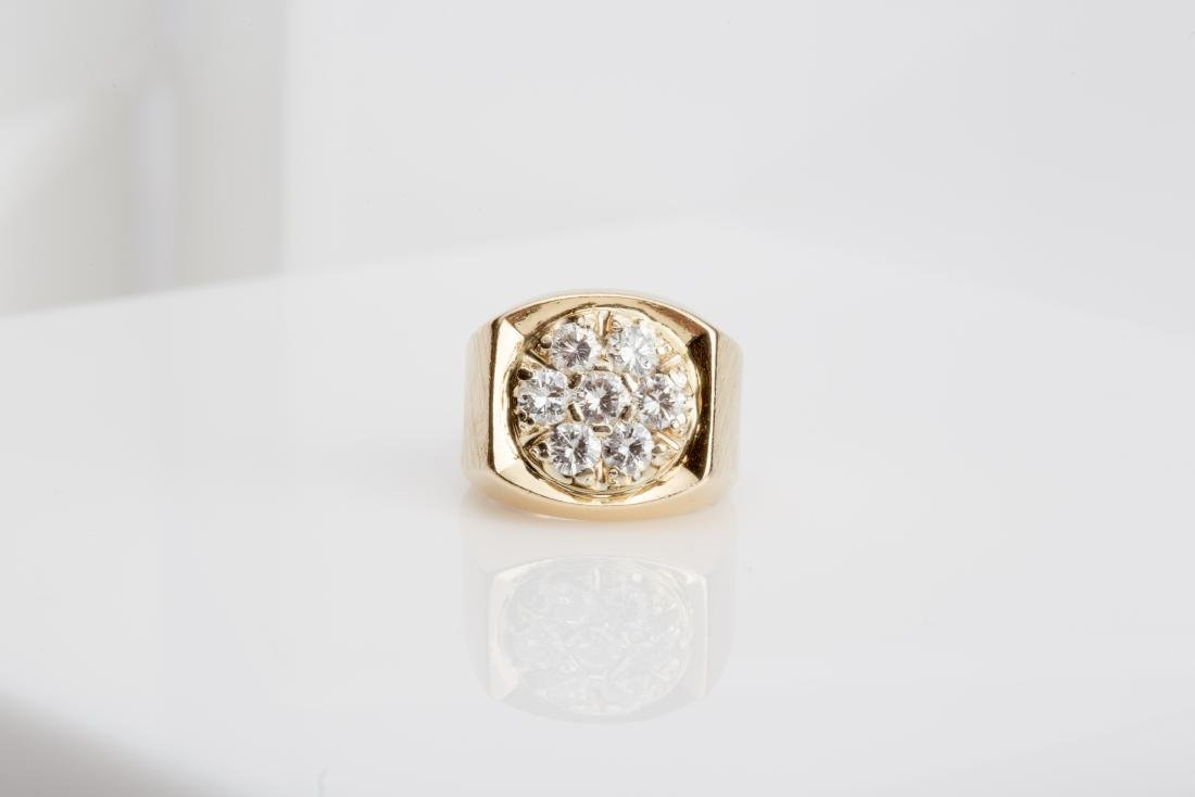 14K MENS ROUND TOP DIAMOND CLUSTER RING SIZE 6.7 - 2