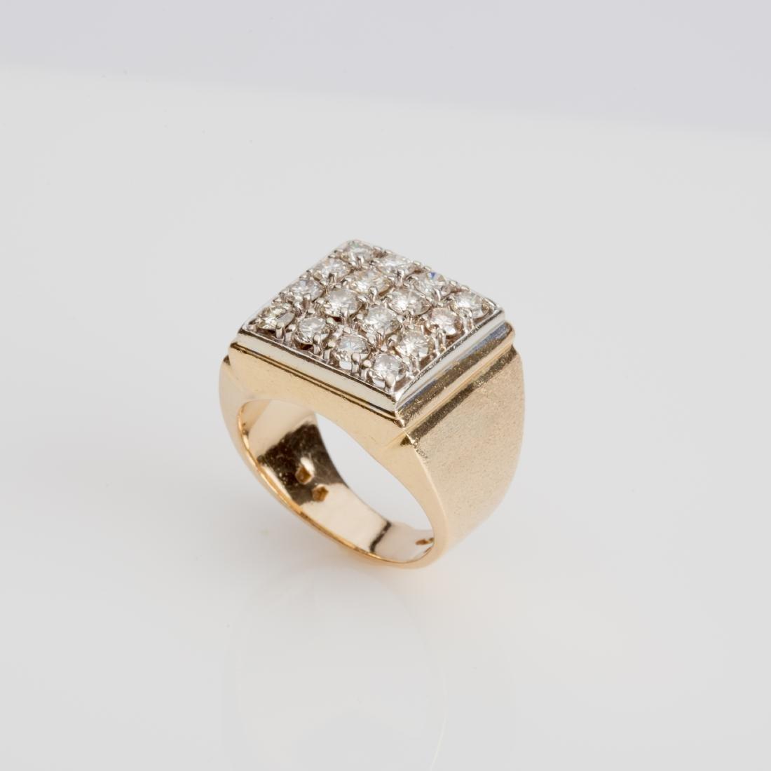 14K MENS SQUARE TOP DIAMOND RING SIZE 8.75