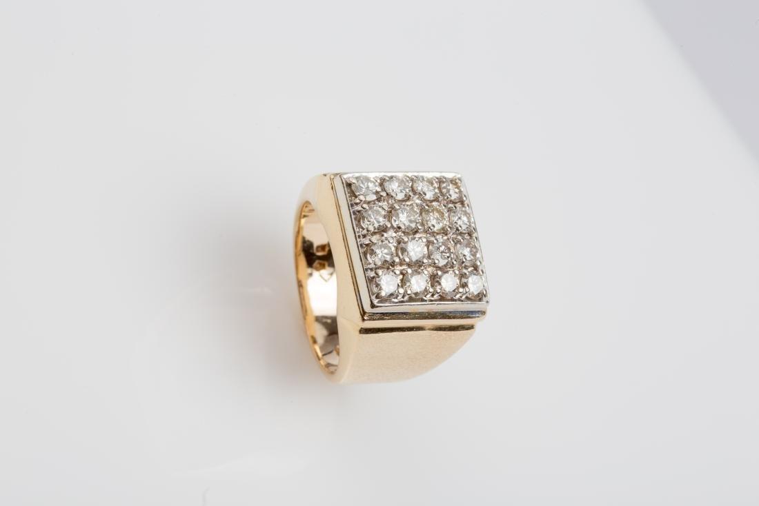 14K MENS SQUARE TOP DIAMOND RING SIZE 8.75 - 2