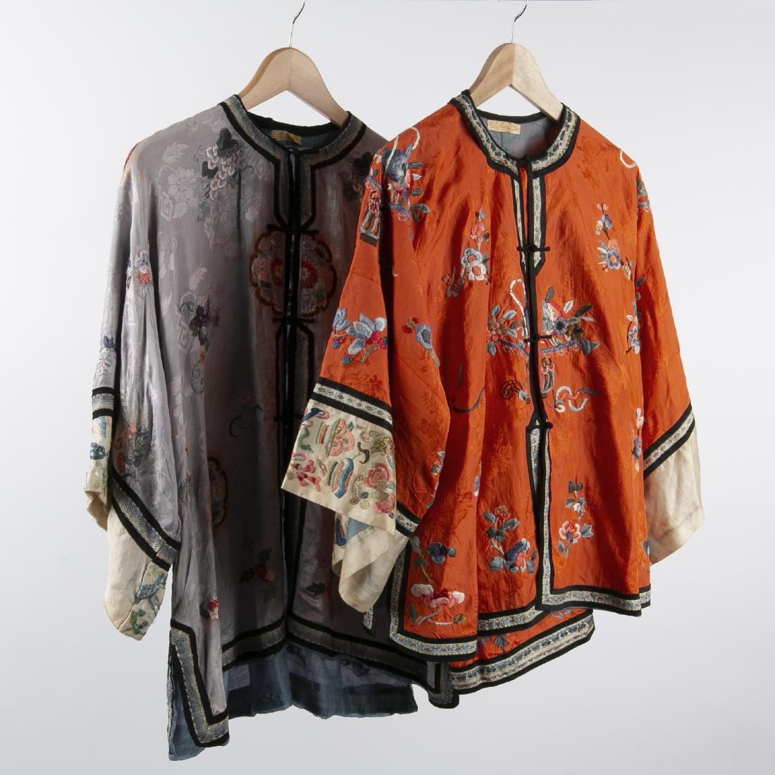 TWO CHINESE SILK ROBES WITH 1 PAIR MATCHING PANTS