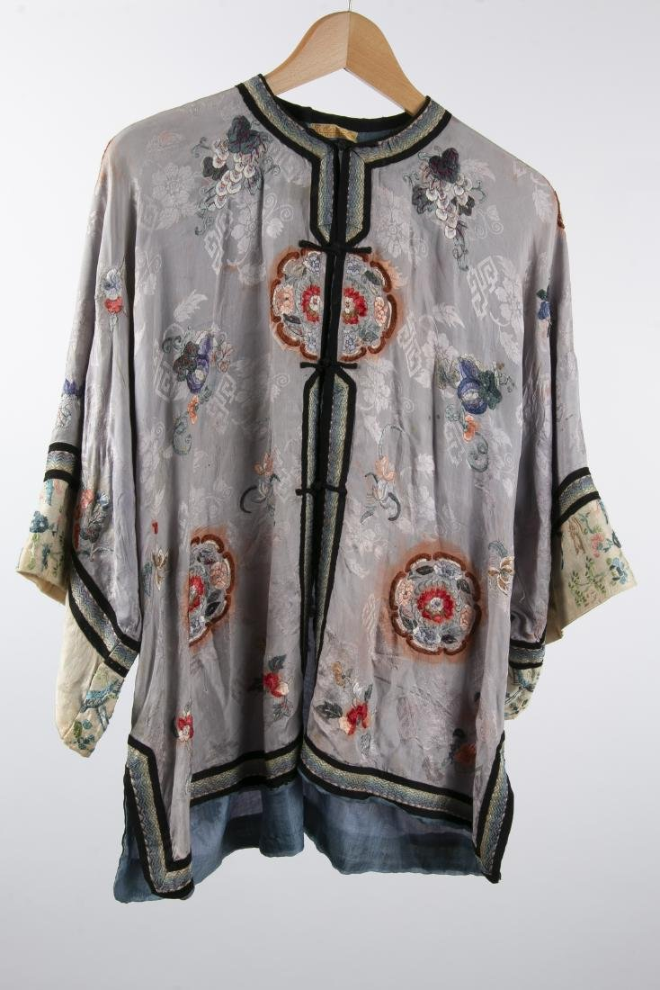 TWO CHINESE SILK ROBES WITH 1 PAIR MATCHING PANTS - 2