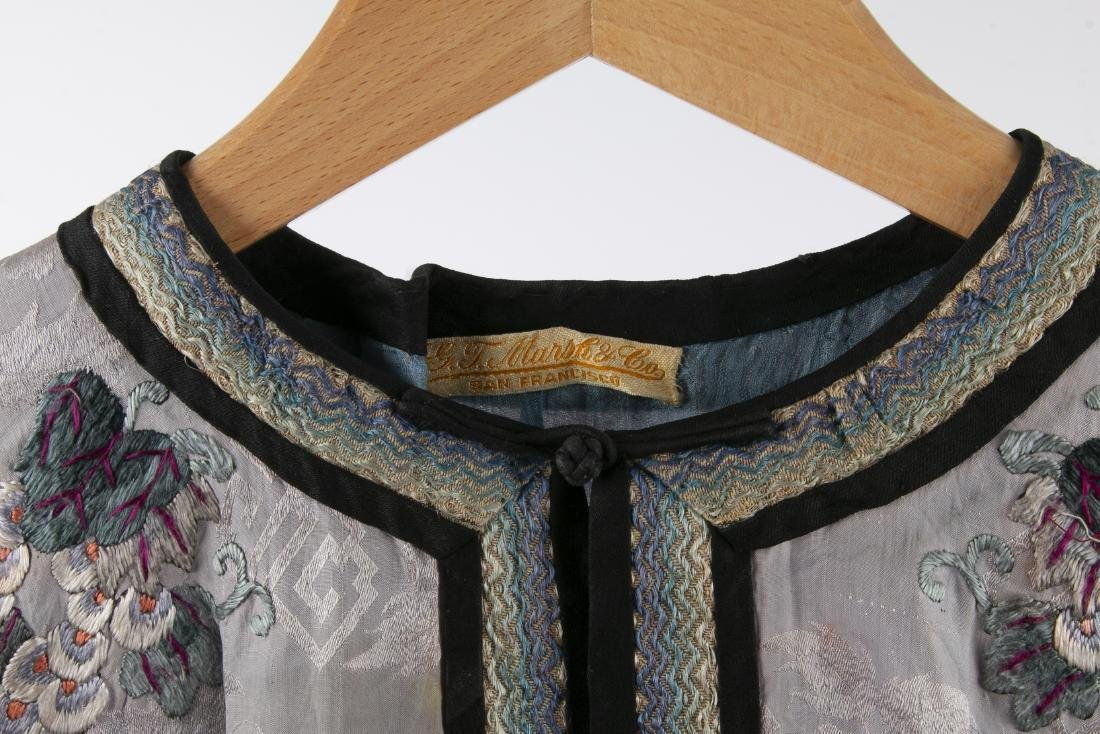 TWO CHINESE SILK ROBES WITH 1 PAIR MATCHING PANTS - 3