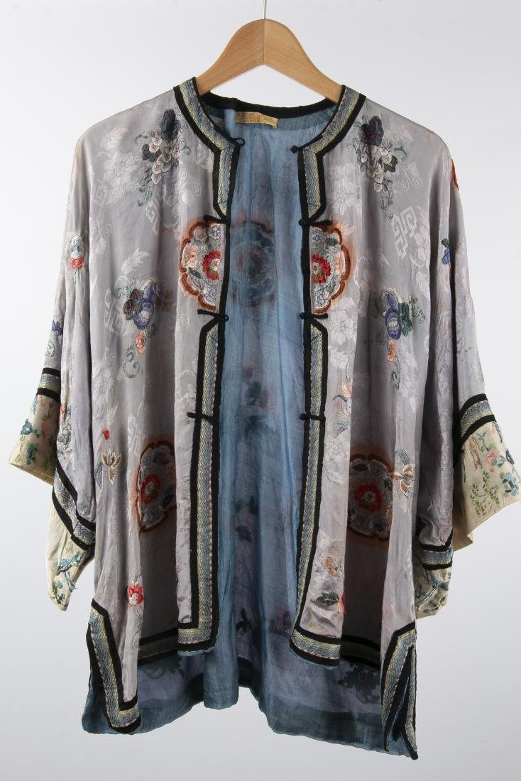 TWO CHINESE SILK ROBES WITH 1 PAIR MATCHING PANTS - 5