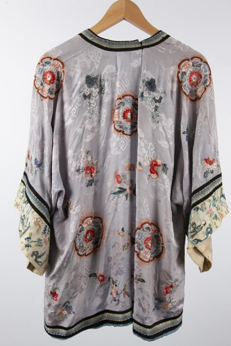 TWO CHINESE SILK ROBES WITH 1 PAIR MATCHING PANTS - 6