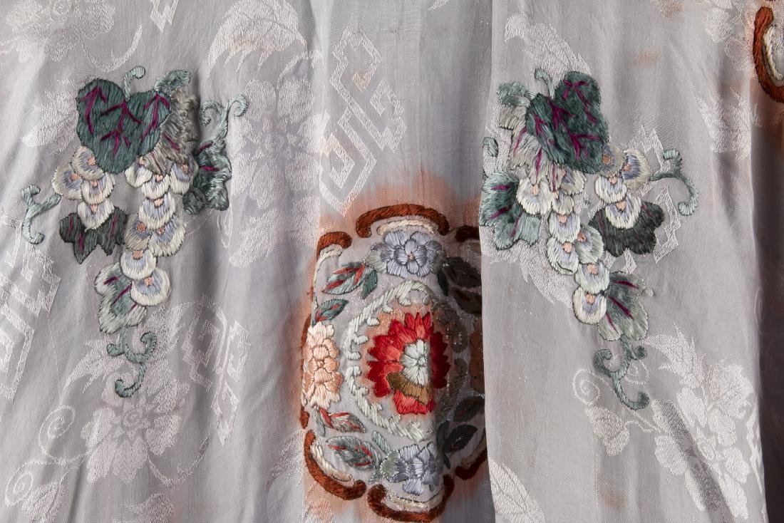TWO CHINESE SILK ROBES WITH 1 PAIR MATCHING PANTS - 7
