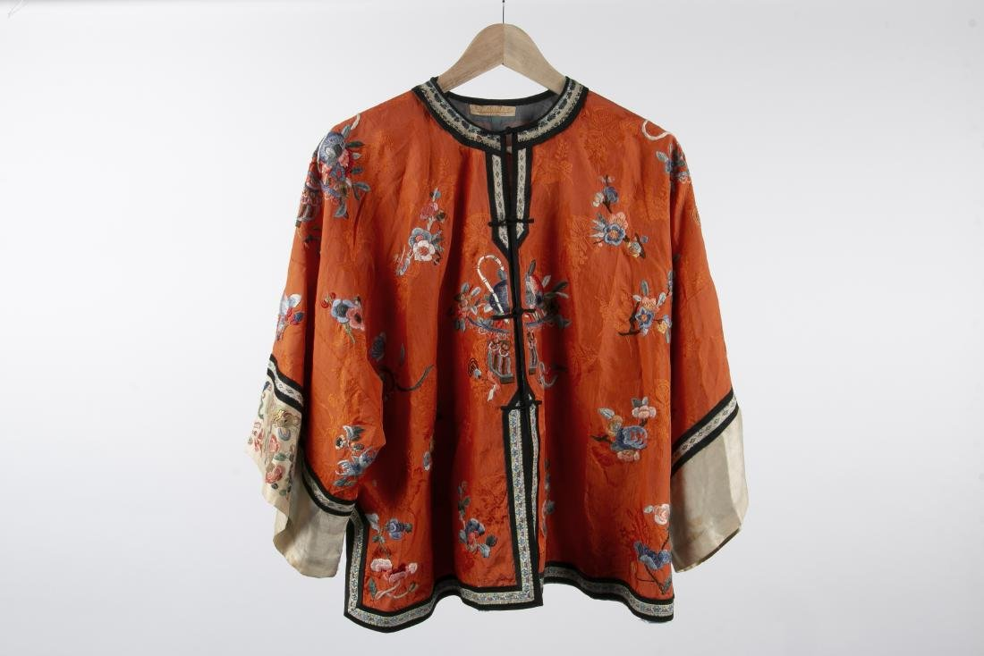TWO CHINESE SILK ROBES WITH 1 PAIR MATCHING PANTS - 9