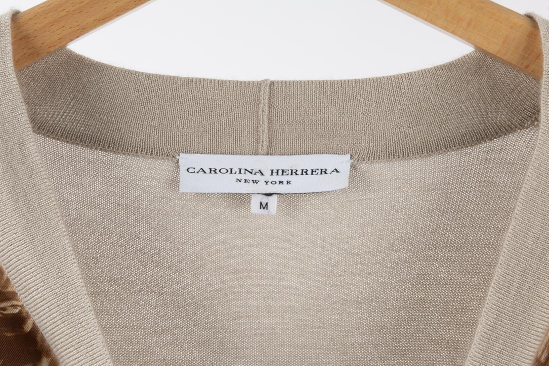 CAROLINA HERRERA SILK FRONT & CASHMERE CARDIGAN - 8