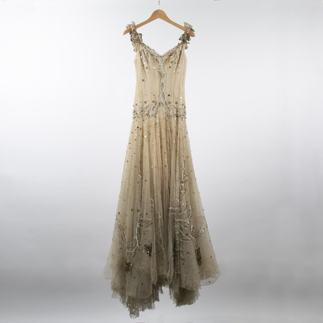 KATHRYN KUHN TULLE EMBELLISHED GOWN, C. 1940'S