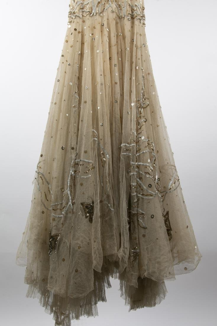 KATHRYN KUHN TULLE EMBELLISHED GOWN, C. 1940'S - 4