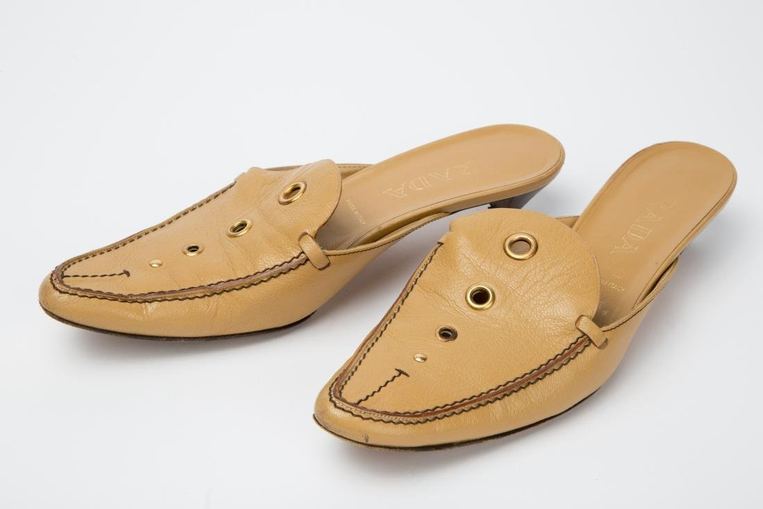 PRADA TAN LEATHER MULES WITH GROMMETS SIZE 38.5 - 2