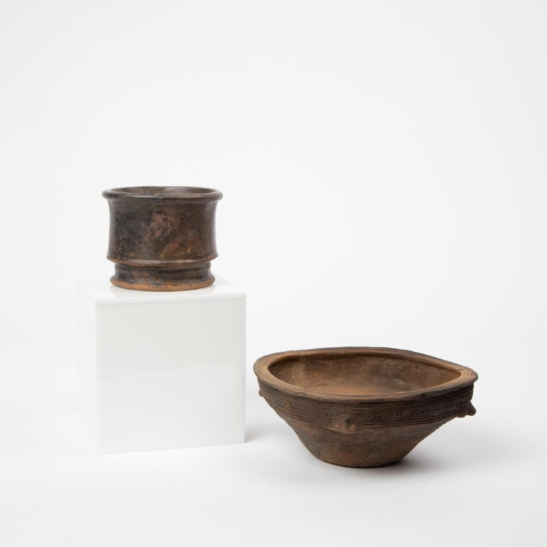 TWO TAIRONA CULTURE BLACKWARE POTTERY PIECES