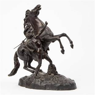 """""""HORSES OF MARLY"""" BRONZE AFTER GUILLAUME COUSTOU"""