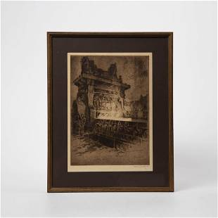 OTTO KUHLER STEEL BLOOMING MILL SIGNED ETCHING